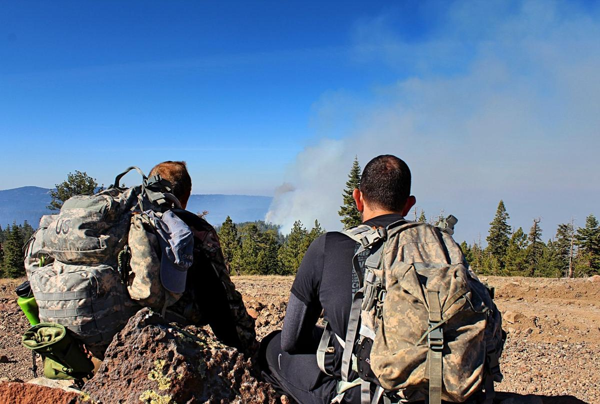 2. Ledger reporter Dave Gebauer and Ledger editor Jeremy Malamed watch the smoke and flames creep closer, as seen from Castle Point. Photo by Sarah Spinetta..jpg