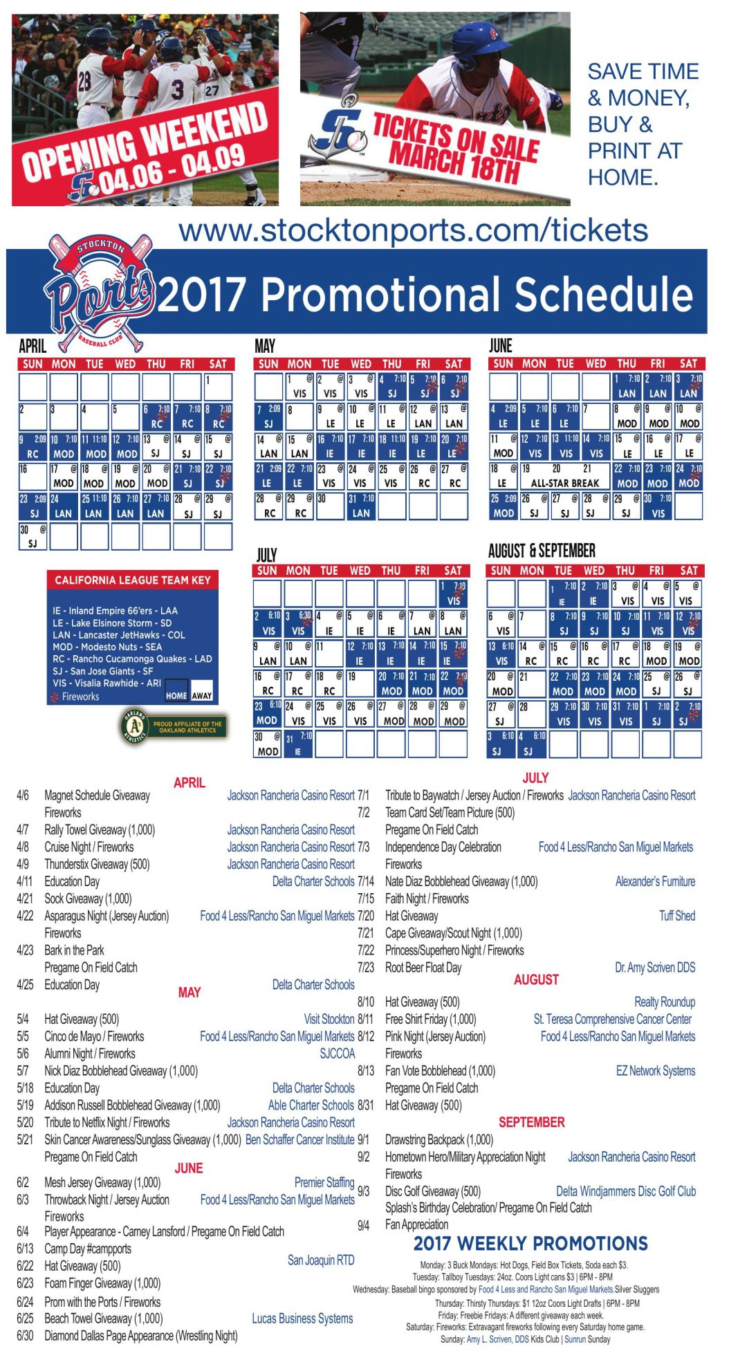 stockton ports schedule and promotions | | ledger.news