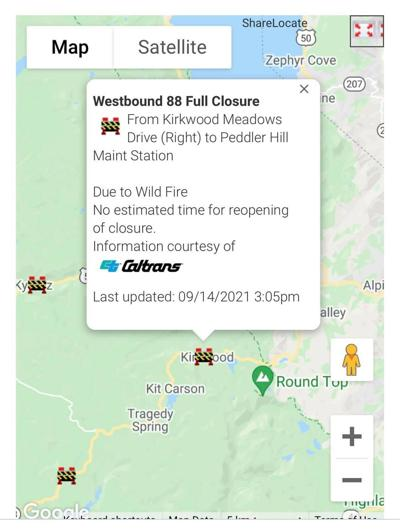 Highway 88 Caldor Closures — September 14