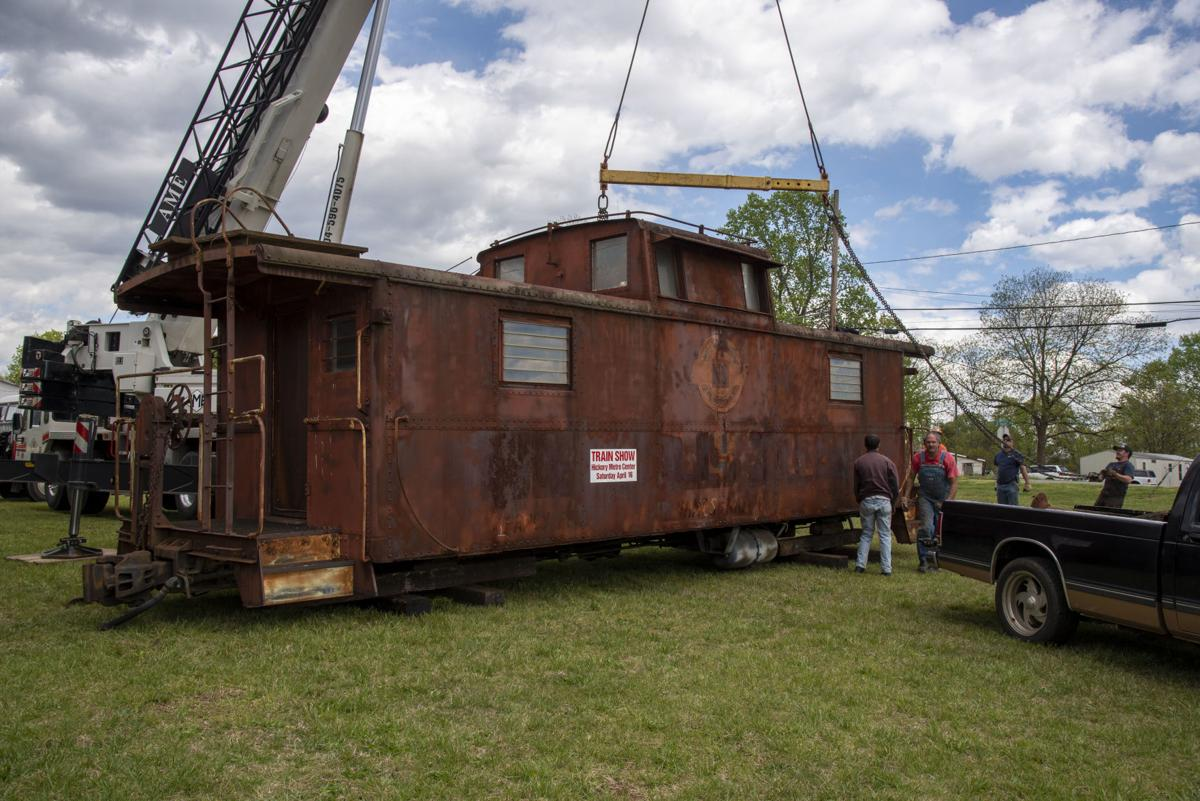Caboose being unloaded