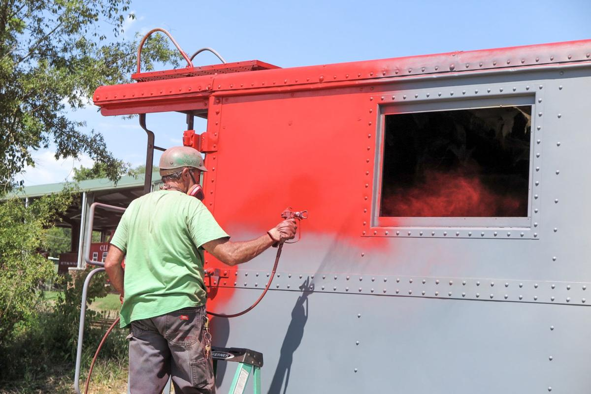 Caboose being painted