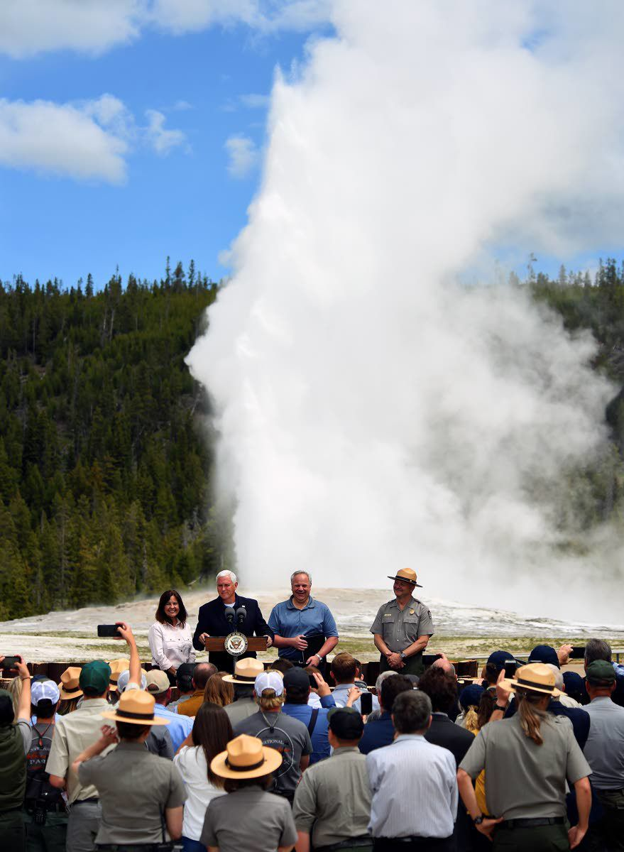 Vice president, Interior secretary visit Yellowstone Park