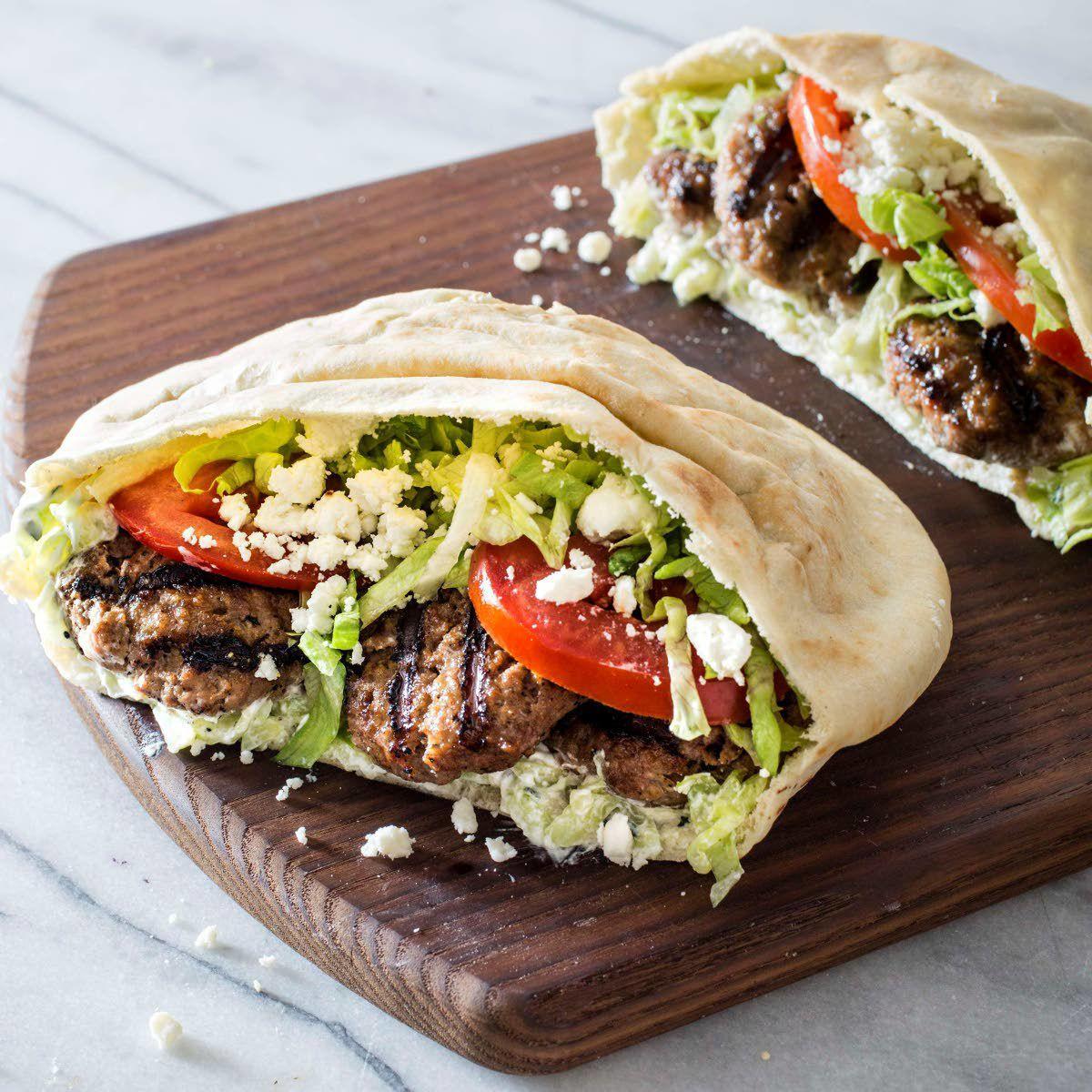 Grilled lamb patties help mimic Greek gyro