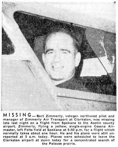Bert Zimmerly reported missing; pilots poised for search at dawn