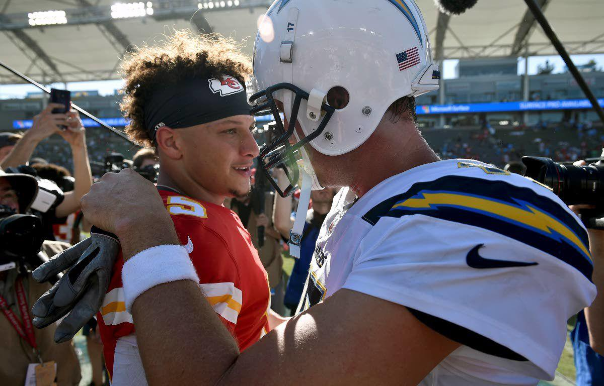 3e88beed67f Chargers. Kansas City Chiefs quarterback Patrick Mahomes (left) greets Los  Angeles Chargers quarterback Philip Rivers after a ...