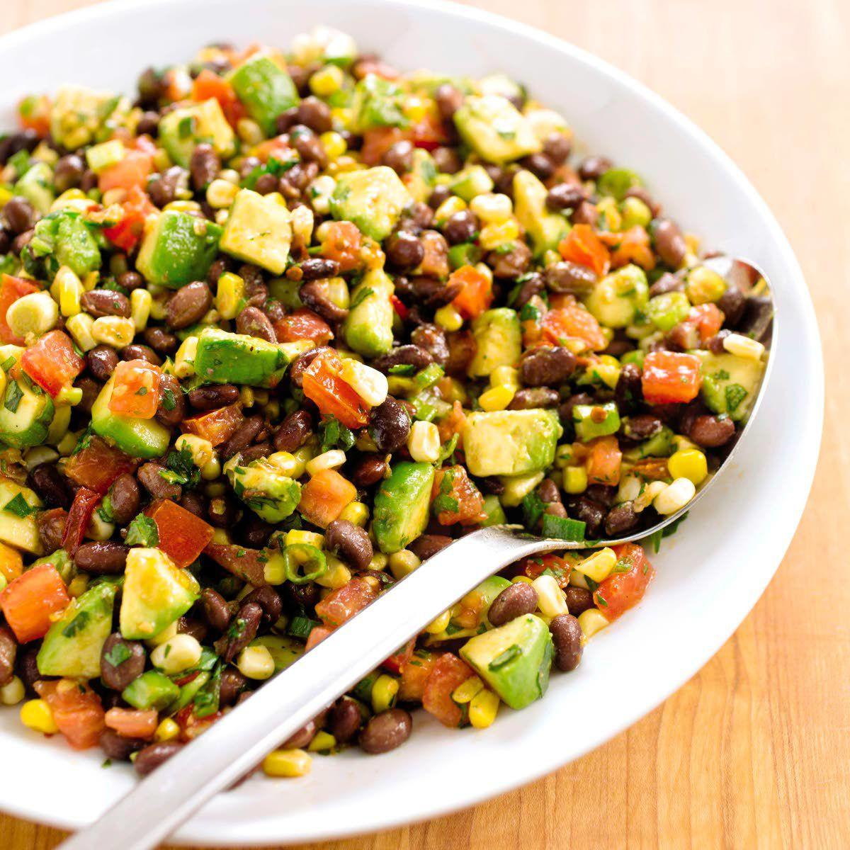 Summery bean salad has corn, avocado