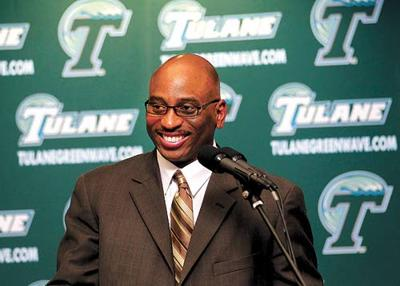 c3426f9c04fd Curtis Johnson addresses the media after being hired to coach Tulane  football.