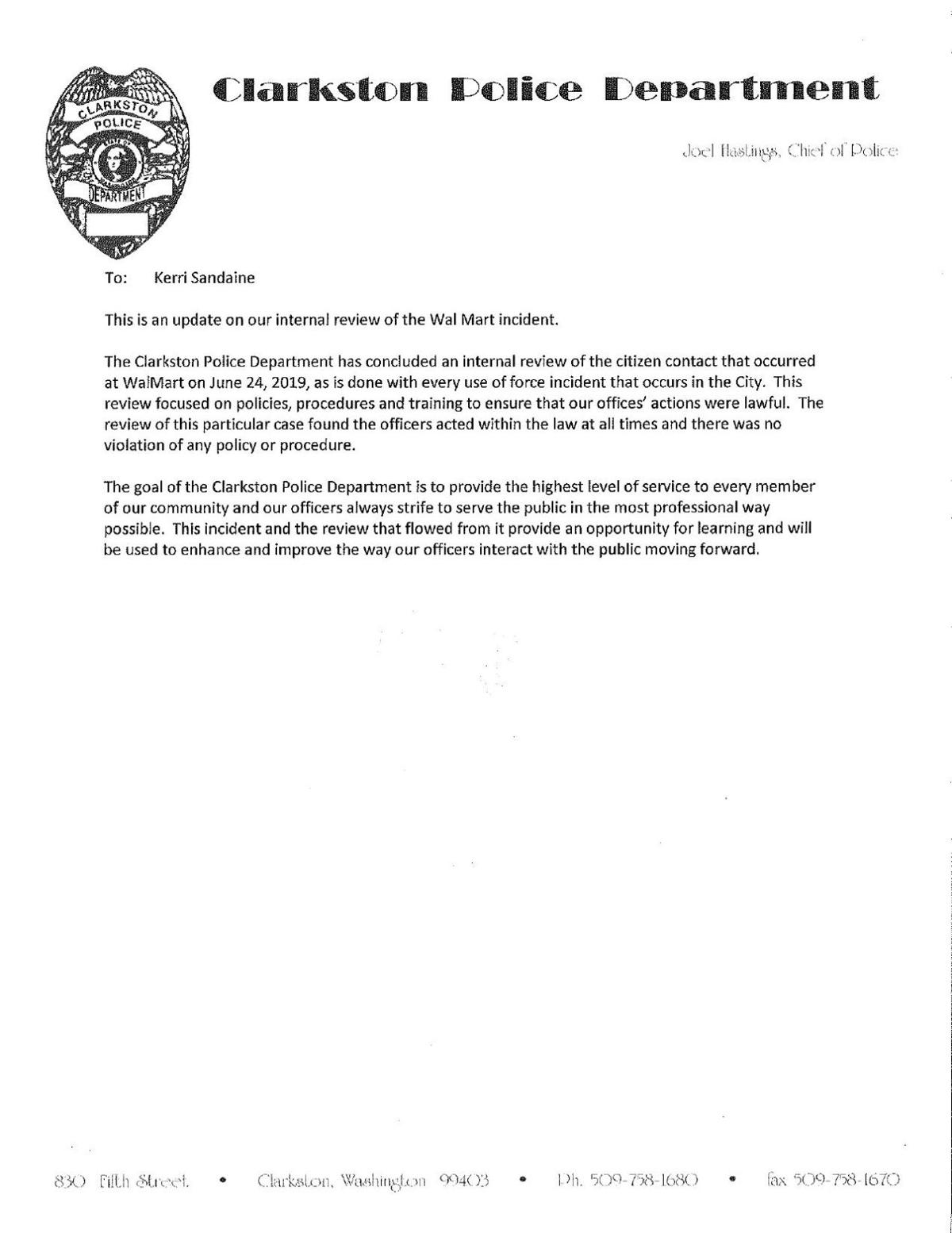 Clarkston police news release