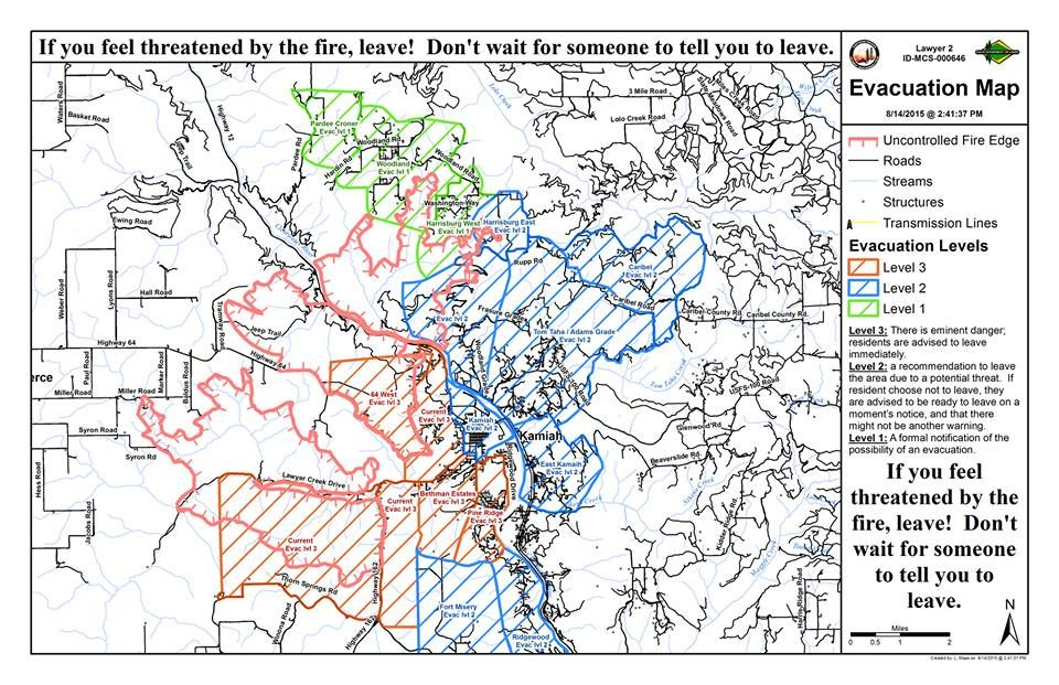 UPDATED PM Mandatory Evacuations For Kamiah East Of - Us forest fire map
