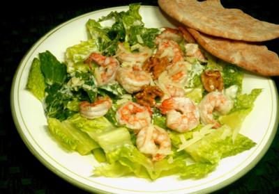 Elevate Caesar salad with grilled shrimp and walnuts