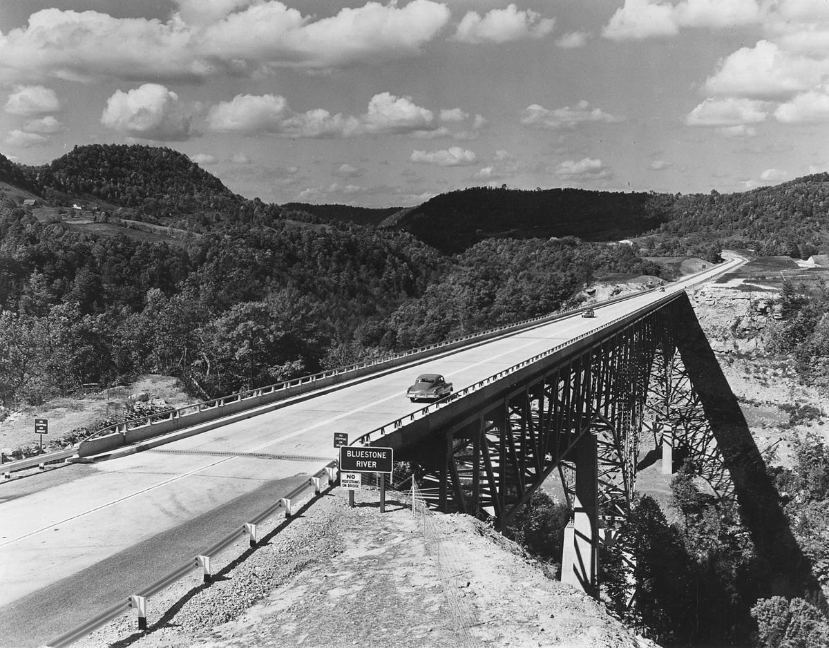 The West Virginia Turnpike crosses the Bluestone Gorge, 1950s.