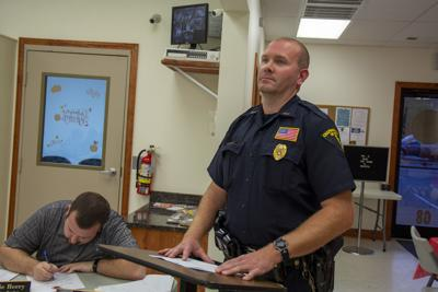 Dylan Vidovich/Logan BannerChapmanville Police Chief Alan Browning delivers his monthly report to the Chapmanville Town Council on Tuesday, Sept. 10.