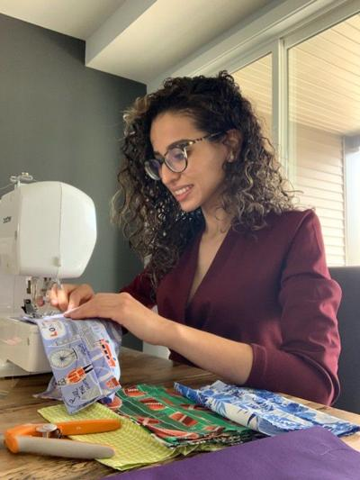 Dina Qureshi sewing masks