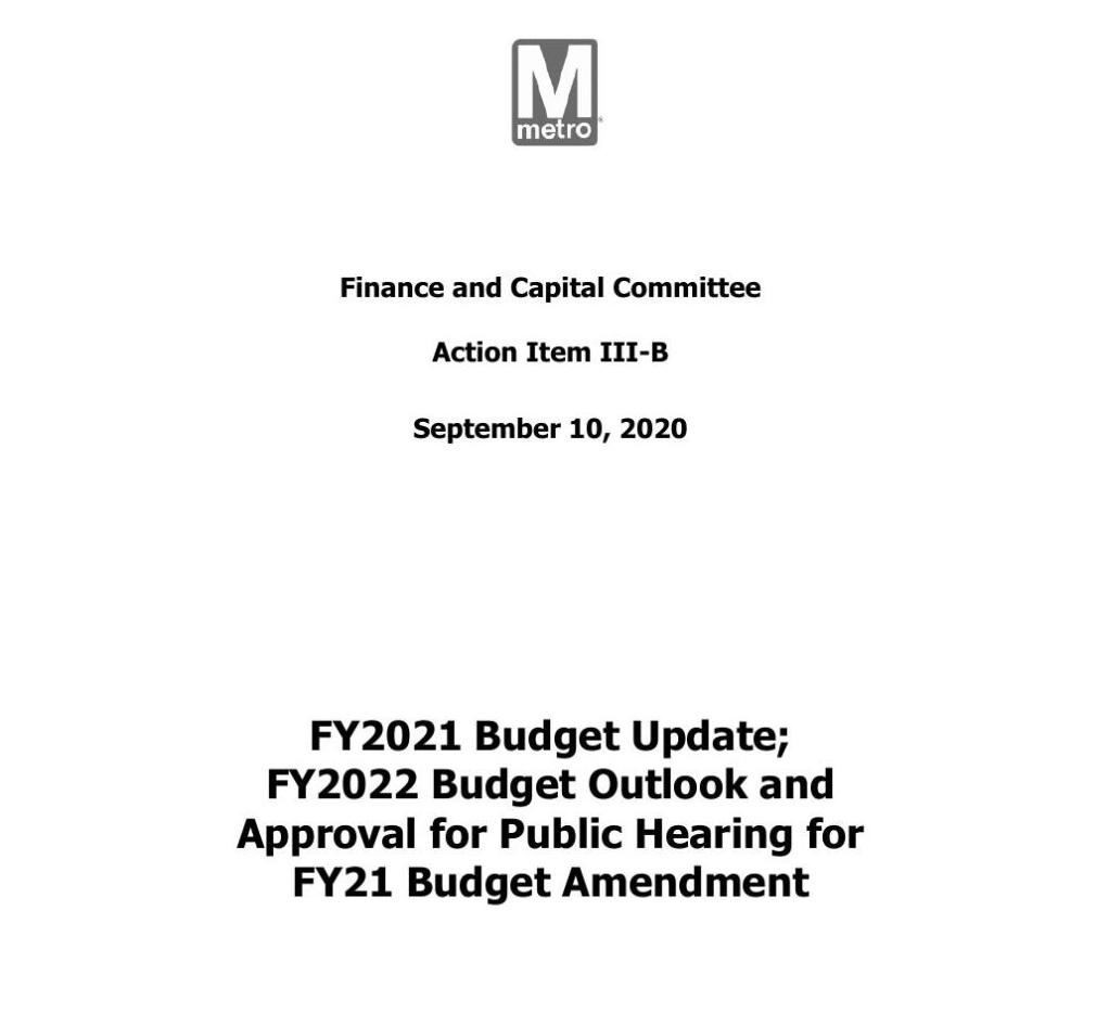 Metro Finance and Capital Committee Action Item | Sept. 10, 2020