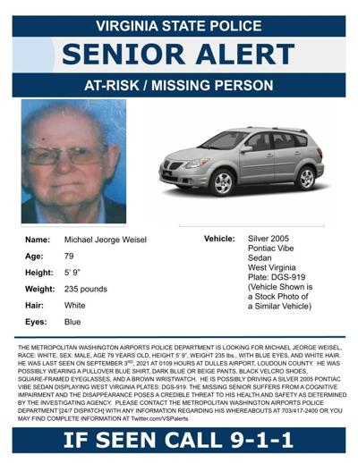Virginia State Police issue senior alert for man last seen at Dulles Airport