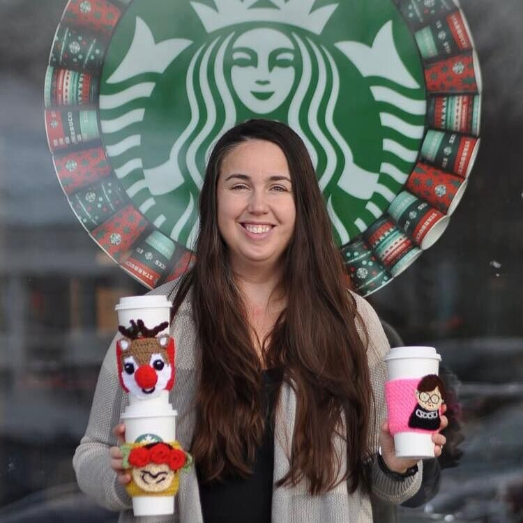 Ashburn mother spreads joy with colorful crocheted coffee sleeves