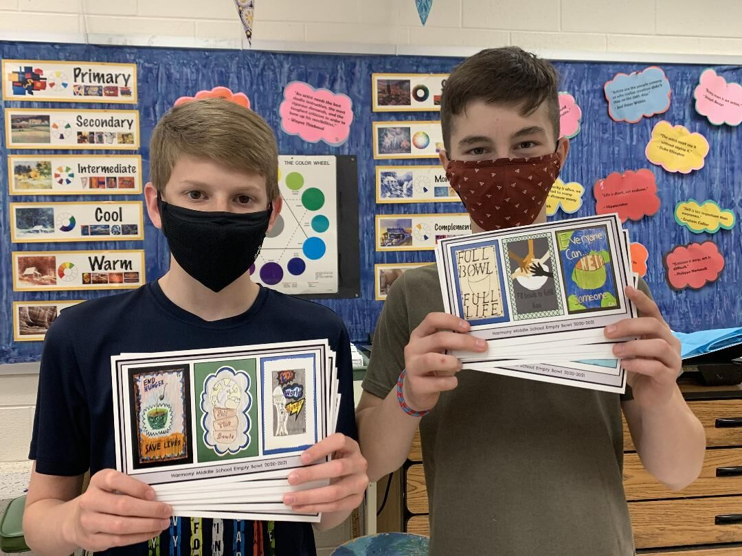 Harmony students create recipe cards to benefit food pantry