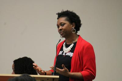Katrecia Nolen speaks at a black student achievement panel