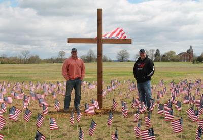 One Family Brewing in Lovettsville installs cross and flags to honor fallen heroes
