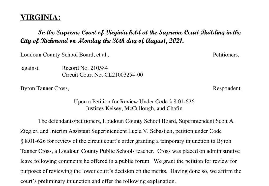 Loudoun County School Board vs. Cross | Supreme Court of Virginia