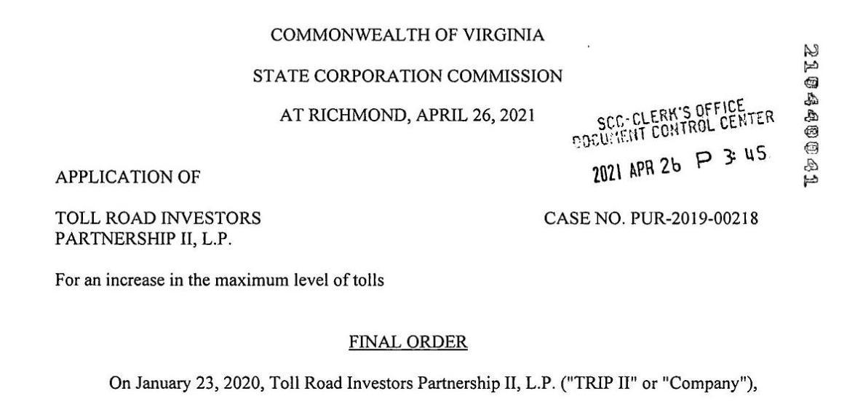 Application of Toll Road Investors Partnership II