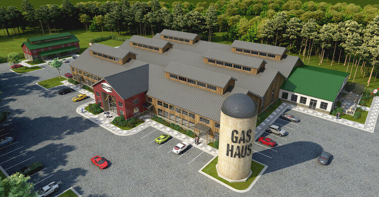 Rendering Gas Haus Car Bar and Auto Lounge Aerial