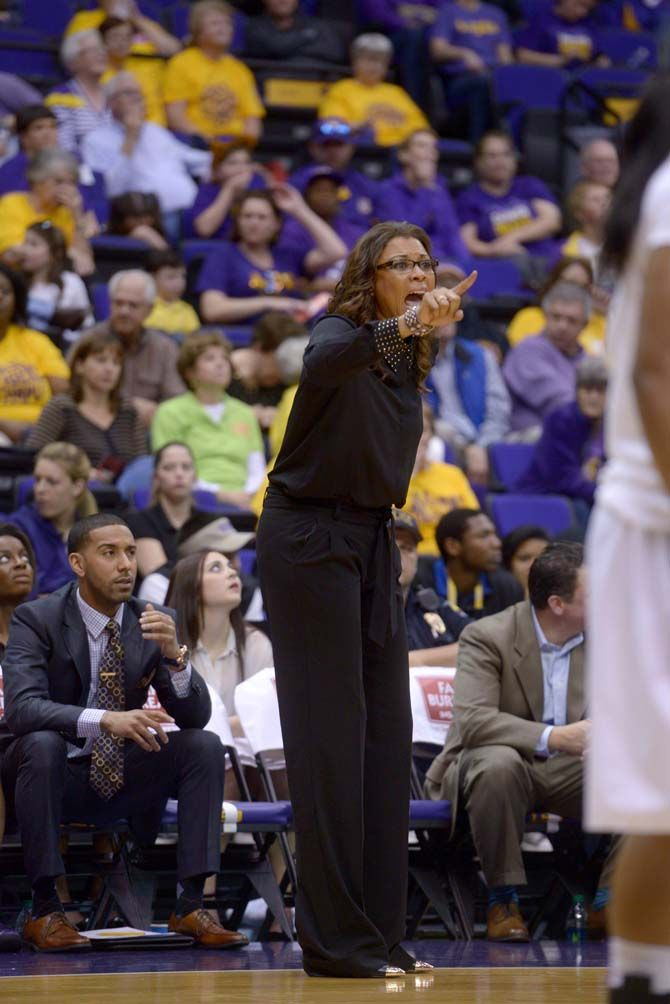 LSU women's basketball coach Nikki Caldwell uses ...