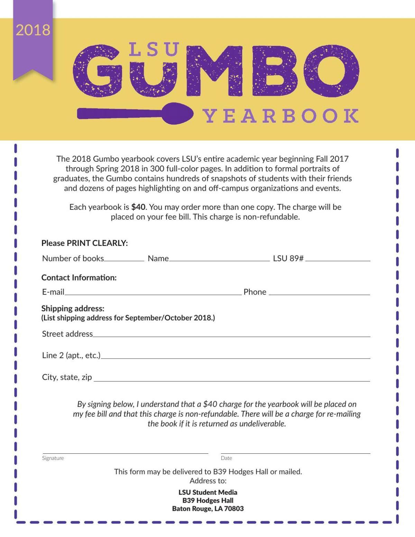 2018 Gumbo Order Form