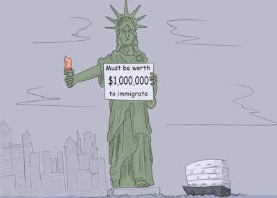 Statue of Liberty judges America's immigrants on net worth, not democratic values and principles