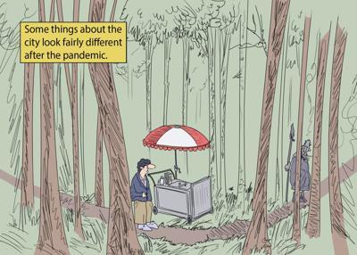 Pandemic city cartoon
