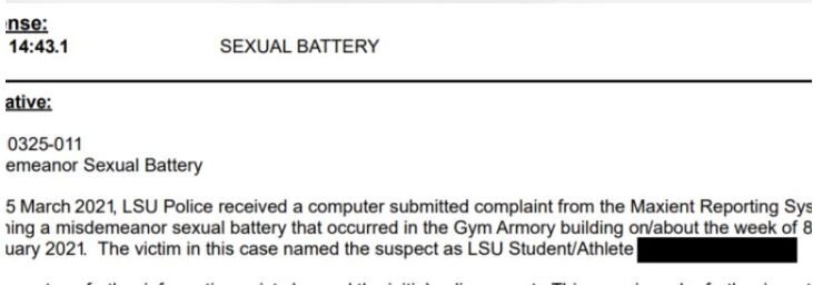 Cox Sexual Battery police report