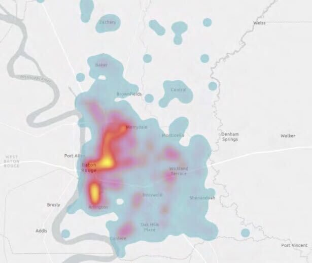 Heat Map of East Baton Rouge Parish Based on Pedestrian and Bicycle-Related Crashes (2011-2015)