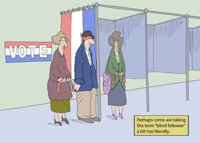 Blind followers cartoon