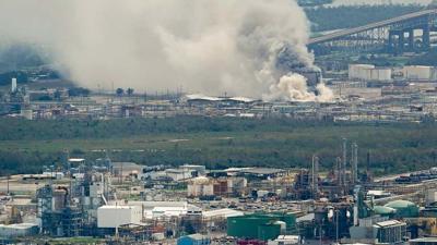 Petrochemical fire Hurricane Laura
