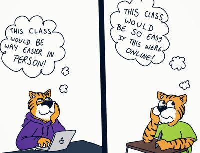 ONLINE VS IN PERSON CLASSES CARTOON