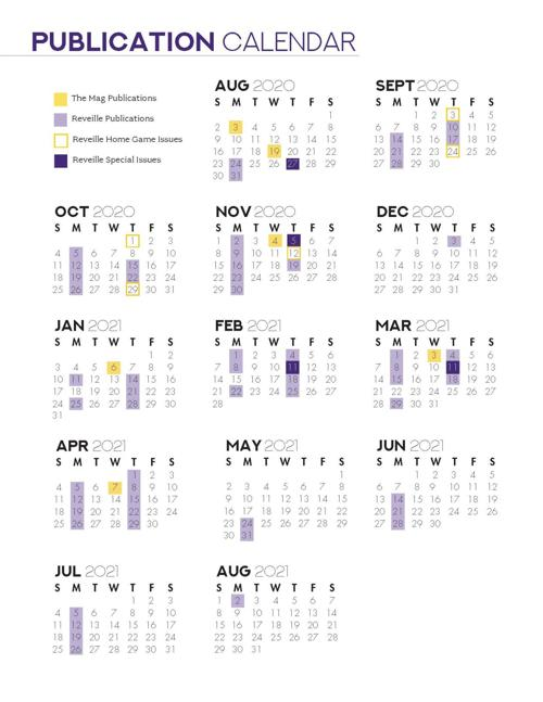 2020   2021 Publication Calendar | Advertising | lsureveille.com