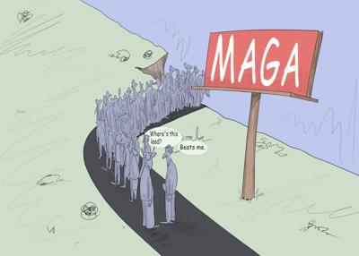 """President Trump's supporters following him off the """"MAGA"""" cliff"""