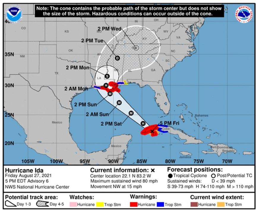 Hurricane Ida, National Weather Service