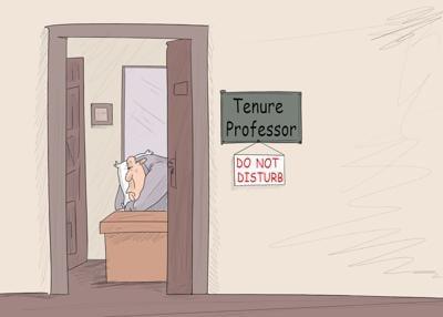 Do not disturb: Tenured professor hard at work