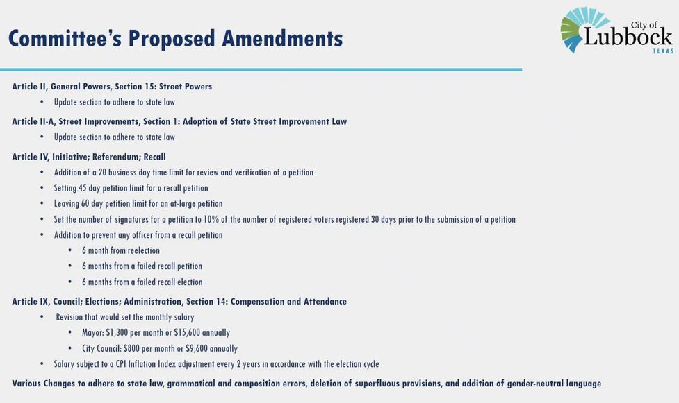 Charter Review proposed amendments
