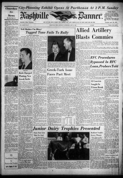 Banner front page on Sept. 15, 1951