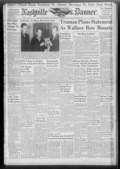 Banner front page on Sept. 14, 1946