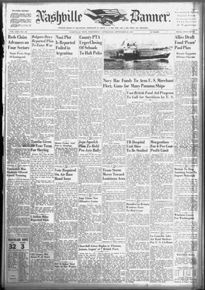 Banner front page on Sept. 24, 1941