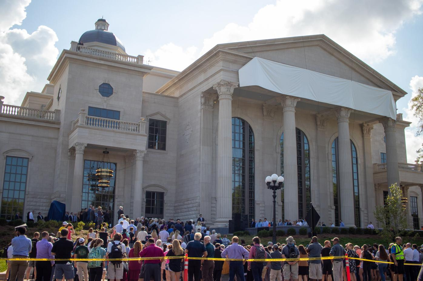 Hundreds gather for Belmont reveal of new performing arts center