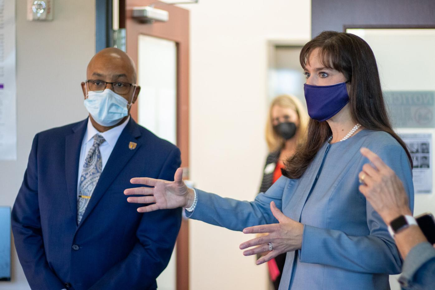 Lipscomb President Candice McQueen and Vice Provost for Health Affairs Quincy Byrdsong