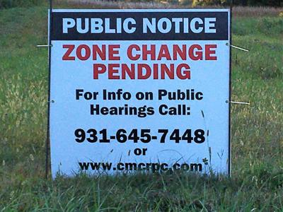 planning commission rezoning sign