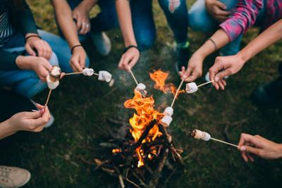 Marshmallows on skewers