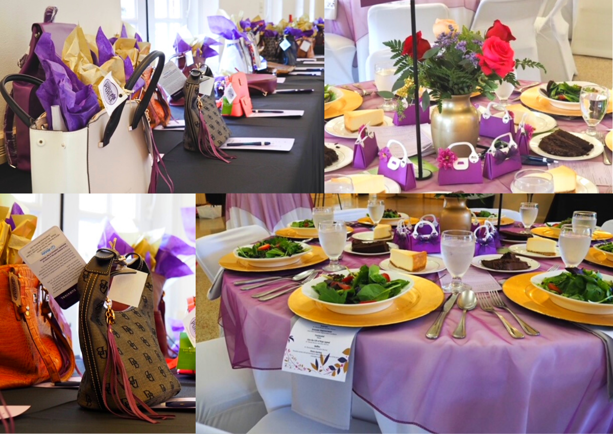 Purse fundraiser and banquet place settings