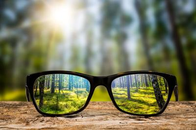 Glasses in focus with view of nature