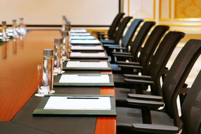 Detailed shot of board room prepped for meeting